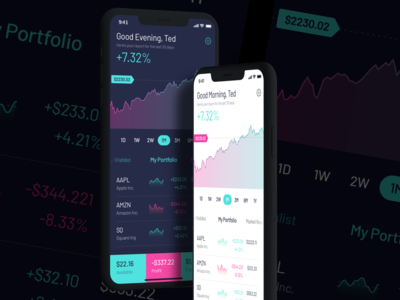Trading App Concept investment darkmode trading stocks mobile ios uipractice app