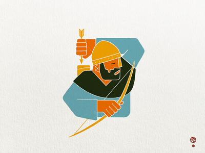 Wisdom of the Archer wisdom simple geometric blocky color blocks texture warrior gold persian stencil stamp medieval archer print risoprint illustration