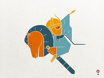 Pride of the Cavalery risoprint print horse spear color blocks blocky simpple illustration persian knight cavalery