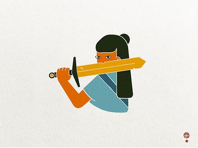 Distrust of the Swordswoman texture charadesign character swordsman soldier warrior hero risoprint print simple persian illustration sword