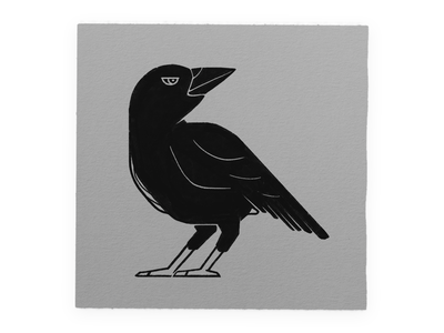 Chunky Crow mysterious dark animal bird chunky geometric esoteric tattoo stamp ink illustration texture black crow simple blocky