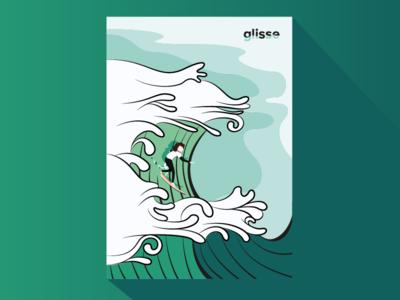 Surf Poster flat illustrator illustration slide lagoon green sea wave surf
