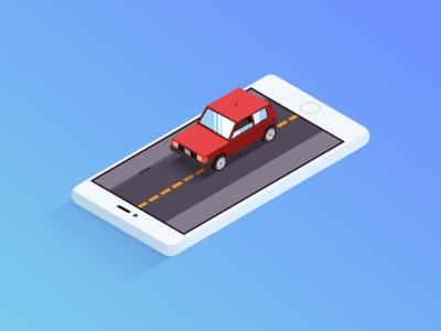 Simple Car illustrator illustration isometric phone panda fiat car