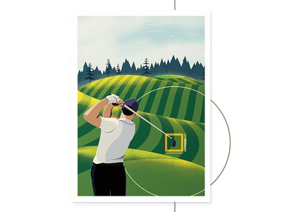 Accuracy illustator 2d man sky green perfection accuracy hud noise nature illustration poster golf