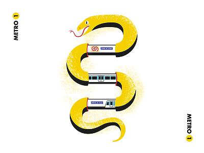 Subway Snake paris grunge rough animal city yellow stippling illustraion snake subway