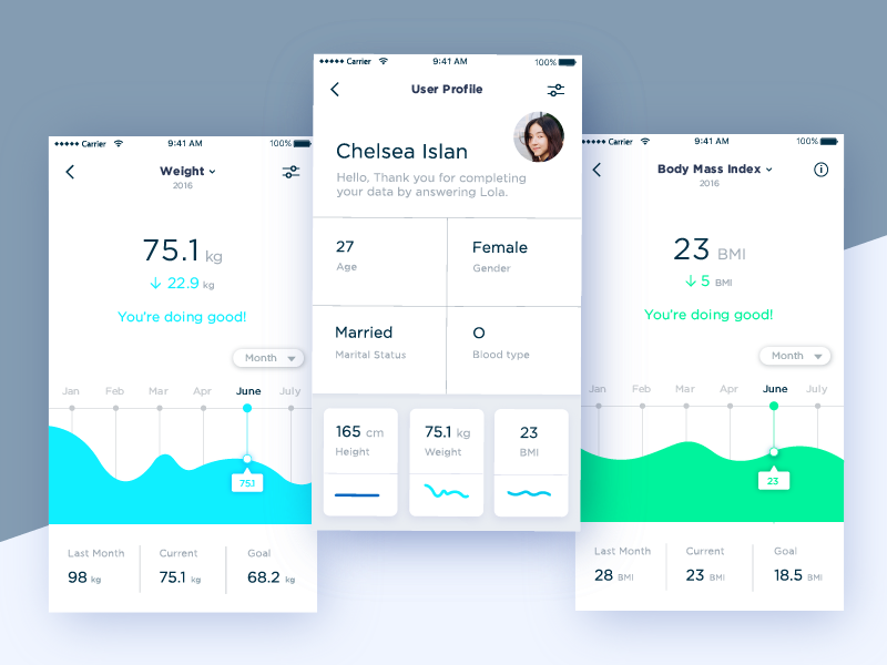 User Profile Exploration for Personal Health Assistant Project. profile ui mobile app dashboard weight bmi navigation menu chatbot personal assistant user profile