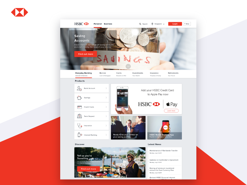 HSBC Singapore Landing Page Redesign by Imam Syafei Hidayat on Dribbble