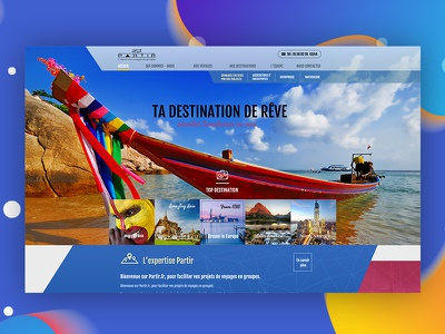 Partir Travel - Home page UX design icon typography web web deisgn design