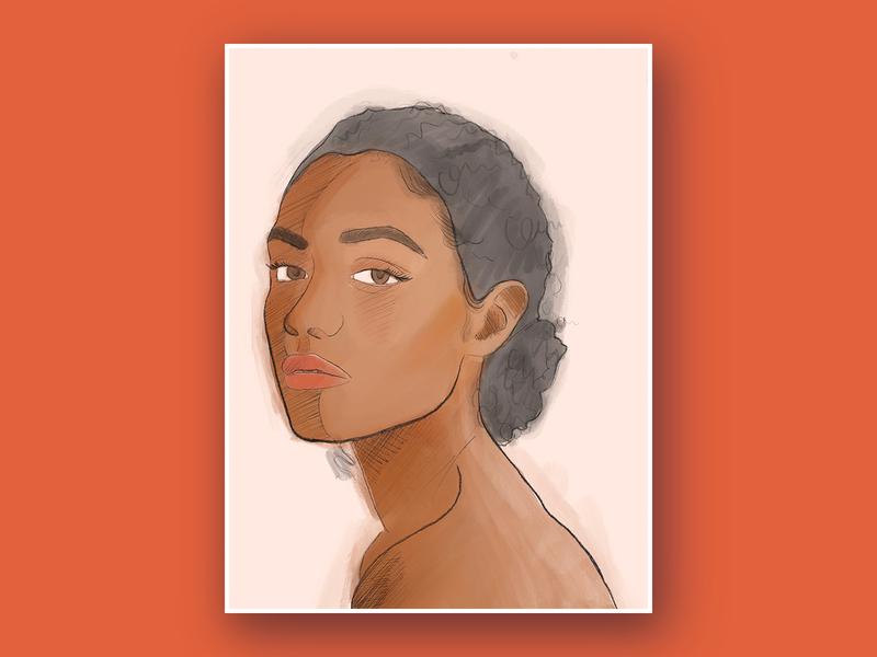 Portrait 1 brushes face sketch painterly woman portrait procreate illustration