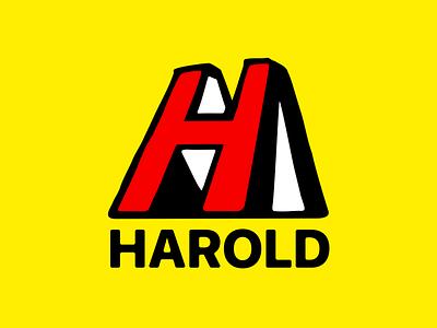 #4 Harold Ltd bold red handdrawn lettermark letter h h dailylogochallengeday4 dailylogochallenge dailylogo yellow colourful colorful playful bright branding logo