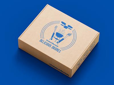 United Rentals - Drone BBQ Box fast food burger meal food render 3d sketch box mockup mockup adobe photoshop adobe illustrator illustrated illustartion icons drones drone blue packaging box bbq
