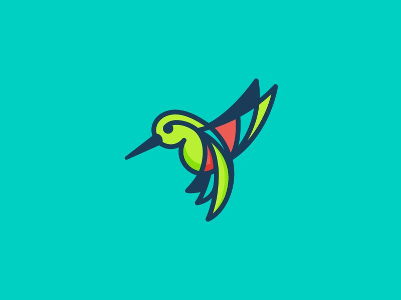 Humming Bird humming bird animal mark logo humming bird flat illustration