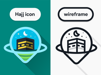 Hajj App icon Concept wireframe map location travel go umra app android google material shape flat design prodcut icon hajj