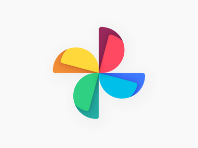 Google Photos New Logo vector photoshop flat product material colors design fan shape moxy pack icon app android new logo photos google
