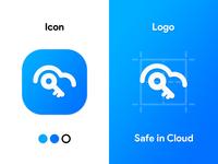 Safe in Cloud Logo Design concept prototype logodesign modern simple logo unique simple logo design app icon blue key shape product icon app android design cloud safe logo