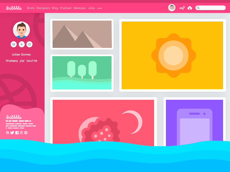 Dribbble UI Concept concept new simple website profile colors design user interface ui ux flat design dribbble
