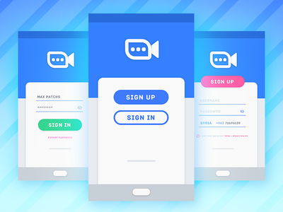 Android Video Chat Login UI App material design 2.0 vector singup login sing in ux ui design chat video android app