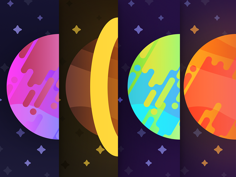 Space Planets simple flat material draw art vector illustartor illustration earth sun image wallpaper preview shape banner icon color design space planet