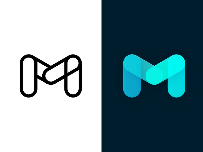 Logo Design for Matericious CSS Framework web design html materialize css animation illustrator lines letter m shape flat material design logo css