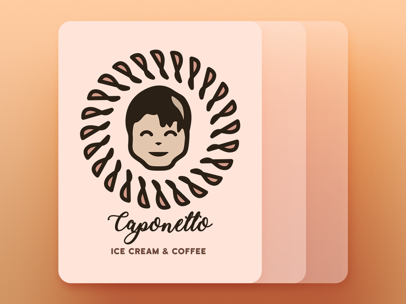"Coffee shop logo ""Caponetto"" illustartor design logo shop ice cream coffee caponetto"