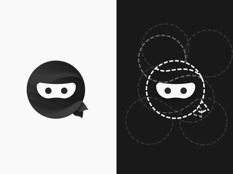 iOS Ninja Logo Design typography illustration icon vector product icon pack golden ratio product icon ios ninja ninja ios logo design icons