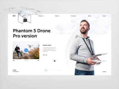 DJI Phantom — Drone shop inspiration cinema 4d product web uiuxdesign e-commerce webdesign interface layout grid productdesign dji interaction typography ui clean drone animation concept after effect