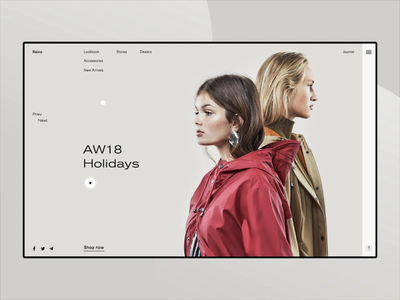 Rains. Promo page for fashion store with animation brutal invite giveaway web deisgn ui ux minimal clean webside models motion slider photo grid home page interface fashion interaction typography concept animation after effect