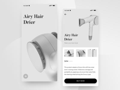 Airy App UI interaction shop app design drier interface ios app ux slider image card explore e-commerce clean photo ui typography grid concept animation