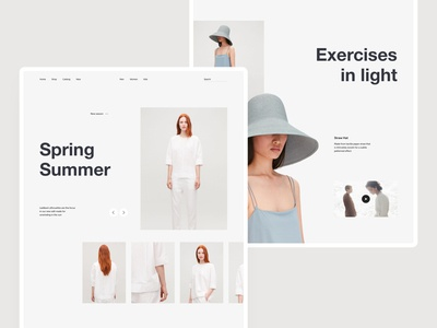 Minimal home page store slider gray white layout fashion website web desktop grid ui ux minimal home page e-commerce photo clean design typography interaction concept