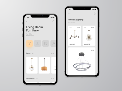 Furniture. App concept grid product ui ux store app typography photo mobile app ios app minimal lights ios interface interaction furniture ecommerce design clean cards business concept