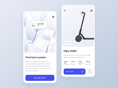 Scooter Rent App – Concept booking cinema4d map electric bike mobile app rentals scan scooter sharing rent driving ui ux photo minimal interface clean interaction design grid concept