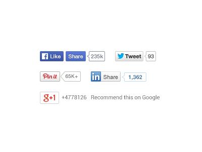 Social Share Buttons facebook twitter tweet pinterest google linkedin download psd share button