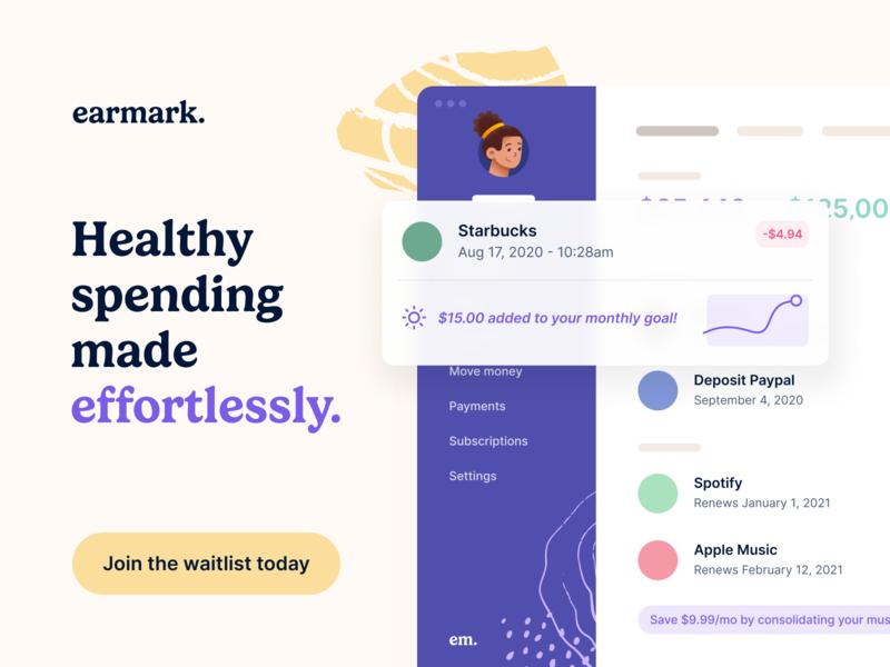 Introducing Earmark. dashboard web interface ux typography design budget money finance ui app website landing page