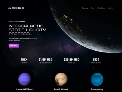 $safegalaxy tokenization galaxy moon planet web space website design safemoon safegalaxy token crypto homepage