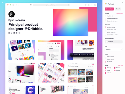 Playbook Updates dribbble gradient browser portfolio personal website builder design update playbook