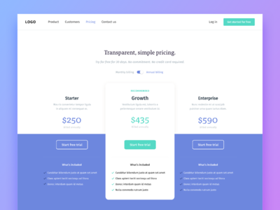 Transparent, simple pricing. 💸 modern ui web typography website purple trial plans pricing design