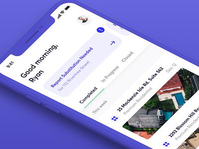 Aerial Measurement Dashboard drone blue purple typography dashboard iphone x ios app ux ui design branding