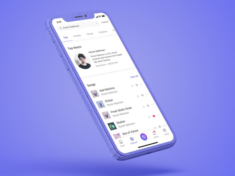 Top Results purple match iphone x ux playlist music app ui design ios iphone search results