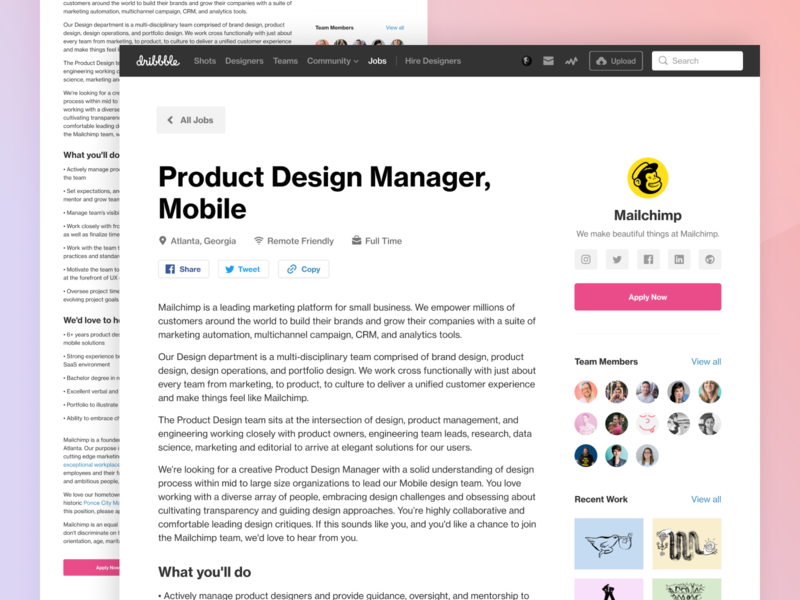 Job listing redesign typography web website job listing page landing design ux ui listing job