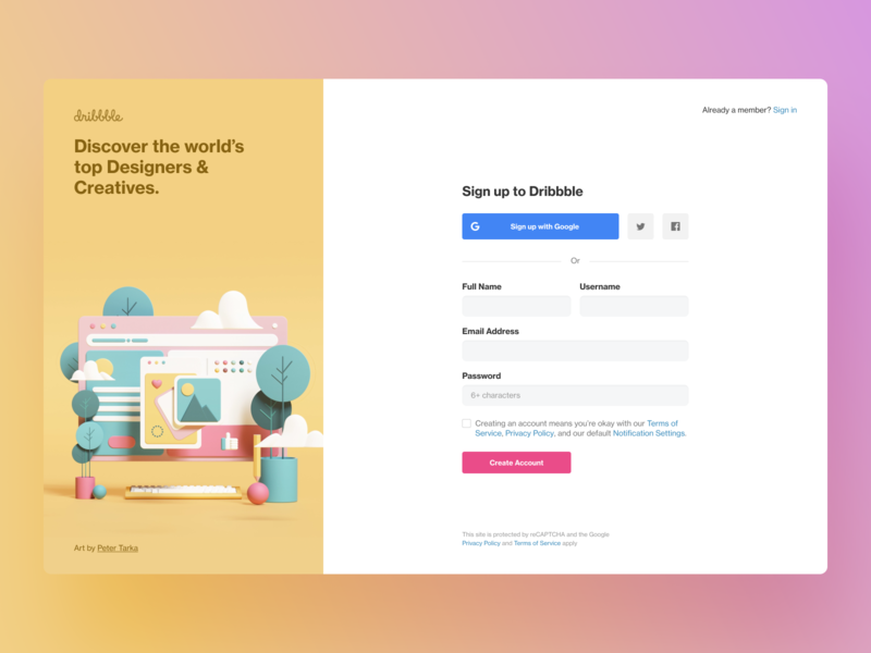 Sign up revamp account illustration form sidebar log in sign up modal website ux ui