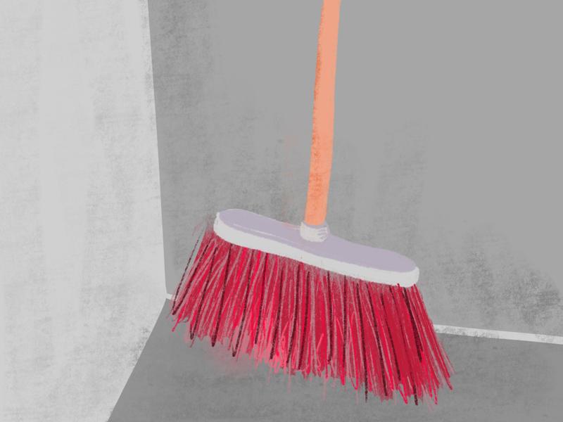 Broom daily sketch practice illustration gray red broom
