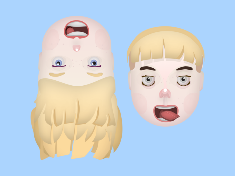 Pseudo 3D Faces vector boy illustration boy girl illustration girl character concept branding character design pseudo 3d face faces character illustration