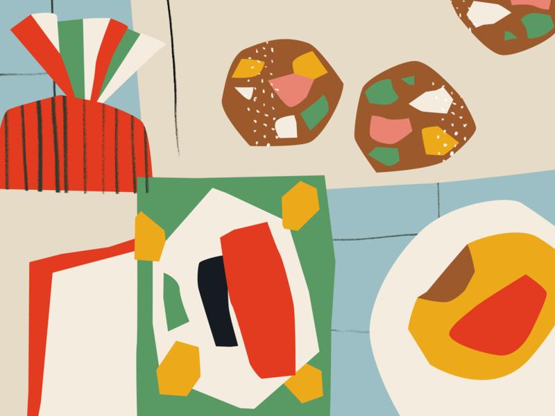 NZ cravings collage design illustration meatpie lollycake shapes vogels