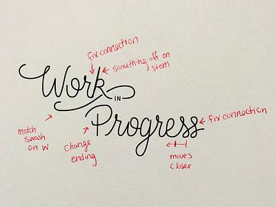 Work In Progress vector hand lettering