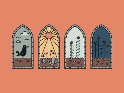 Parable of the Sower stained glass parable lineart seeds flower sun vector illustration bird