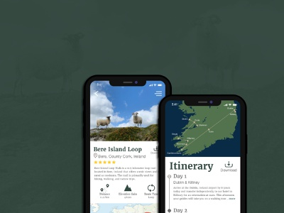 Adventure App travel hiking itinerary ireland sheep illustration app