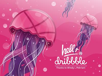 Hello, dribbble! vector design jellyfish sea hello dribbble hello first shot invitation illustration