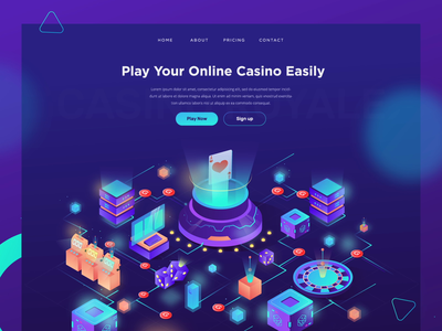 Online Casino - Landing Page ui header gradient roulette illustrations isometric landing page card blackjack casino