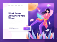 Work From Home Header relax sleep work from home corona design laptop character header screen gradient flat landing page illustrations