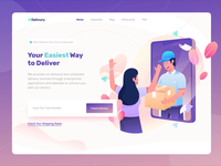 Delivury Header Landing Page delivery services box package app screen character header flat gradient landing page illustration illustrator delivery app delivery